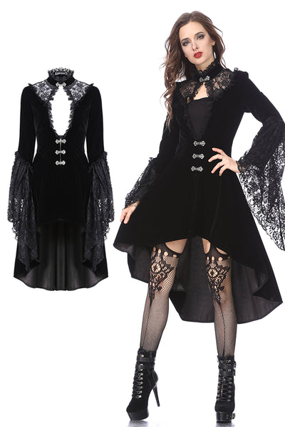 JW156 Gothic noble velvet cocktail coat with lace neck