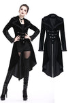 Gothic inverted button fishtail long velvet jacket JW162 - Gothlolibeauty