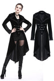 JW162 Gothic inverted button fishtail long velvet jacket - Gothlolibeauty