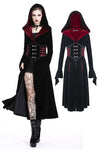 DARK IN LOVE Gothic Black red button lace-up long jacket JW164 - Gothlolibeauty