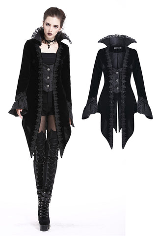 JW169 Gothic rave clothing with fake two pieces cool high collar velvet dress - Gothlolibeauty