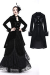 JW171 Gothic pleated long velvet jacket - Gothlolibeauty