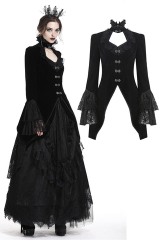 Gothic velvet swallow lace tail jacket JW174 - Gothlolibeauty
