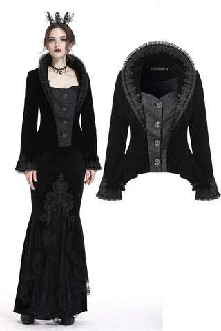 Gothic royal floral stand-up collar velvet jacket JW180 - Gothlolibeauty
