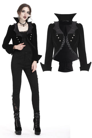 Gothic bat collar velvet short tailed jacket JW182 - Gothlolibeauty