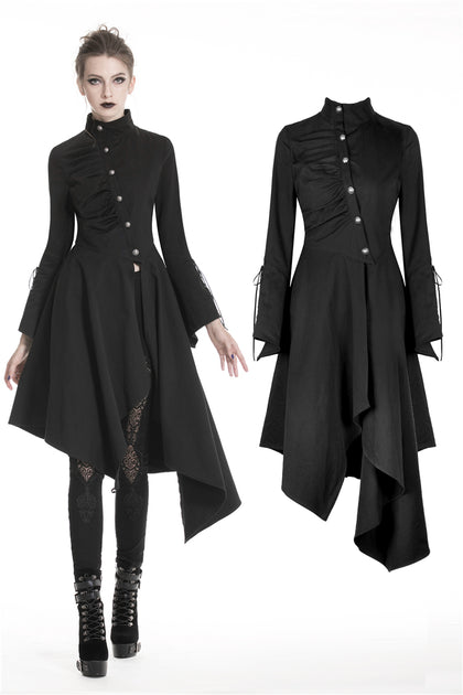 Punk long jacket with oblique asymmetrical shape JW208 - Gothlolibeauty