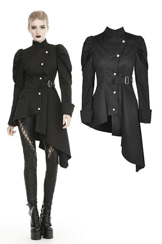 Punk warrior button up side long irreqular jacket JW215