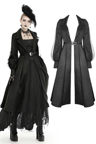 Women's lapel open front long cardigan gothic coat JW216