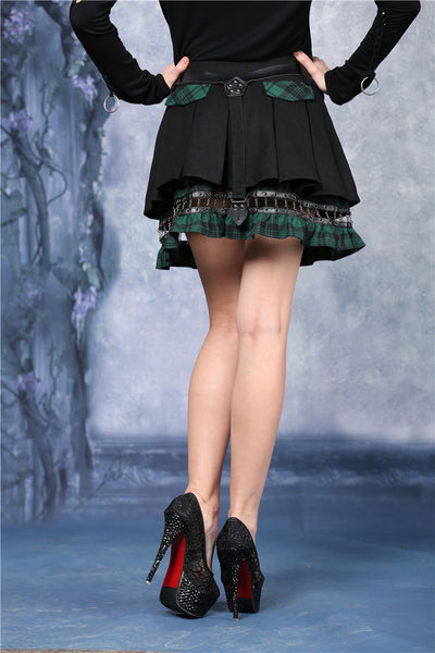 KW039GN Punk pleated skirt with plaids connected by cycle chain