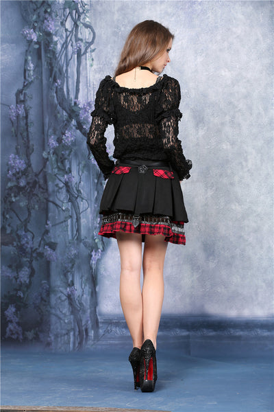 KW039RD Punk pleated skirt with plaids connected by cycle chain