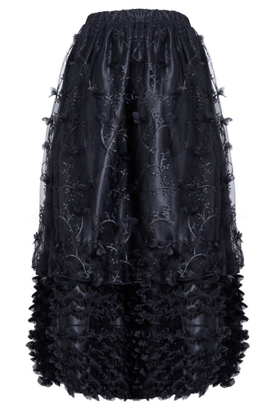KW093 Gothic long skirt with budding flowers lace