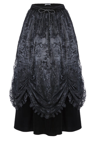 Gothic long skirt with luxuriant flocking lace KW112 - Gothlolibeauty