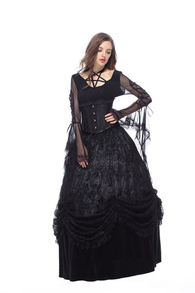 KW112 Gothic long skirt with luxuriant flocking lace