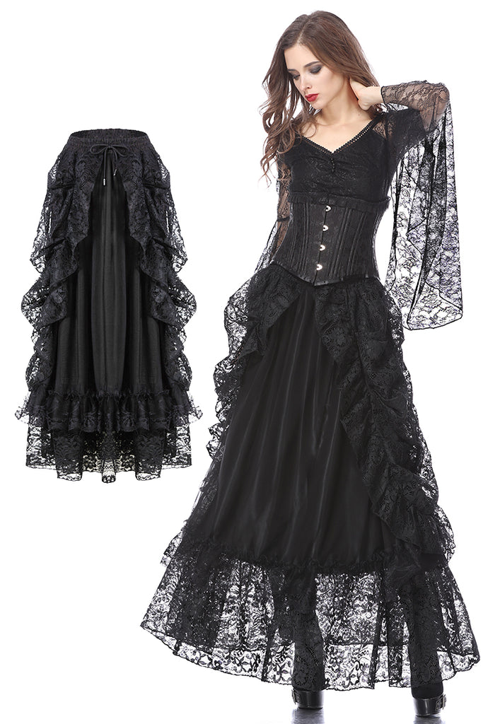 KW123BK Gothic eleglant court skirt (price no incl. petticoat)