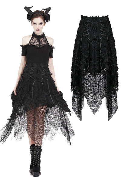 KW126 Punk disorderly flower and mesh skirt with irregular hem