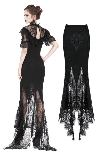 KW127 Gothic lace patterned swallow tail skirt with wrap up buttocks designs