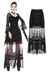 Gothic long skirt with flower hollow-out design KW128 - Gothlolibeauty