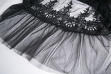 KW128 Gothic long skirt with flower hollow-out design