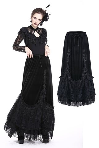 Gothic A-line lacey velvet long skirt KW131 - Gothlolibeauty