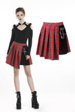 Punk red big pin pleated plaid skirt KW135RD - Gothlolibeauty
