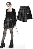 Punk pleated grid irregular hem skirt KW135BK - Gothlolibeauty