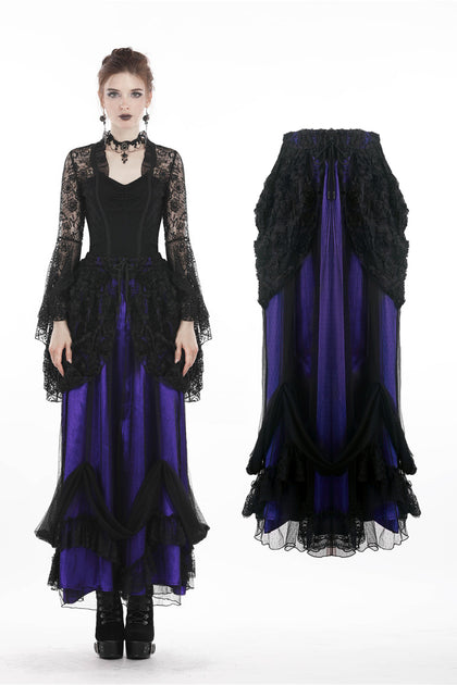 Gothic lace mesh satin long skirt KW139 - Gothlolibeauty