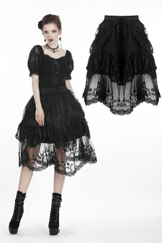 Black lolita lace skirt KW150 - Gothlolibeauty