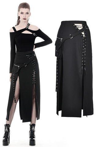 Punk sexy slit irregular long skirt KW161 - Gothlolibeauty