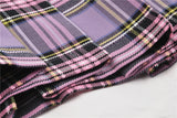 Punk purple checked splicing black pleated short skirt KW175 - Gothlolibeauty