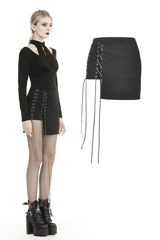 Punk moto side rope up mini skirt KW181