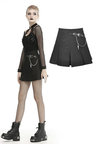 Punk metal chain decorative pleated mini skirt KW182