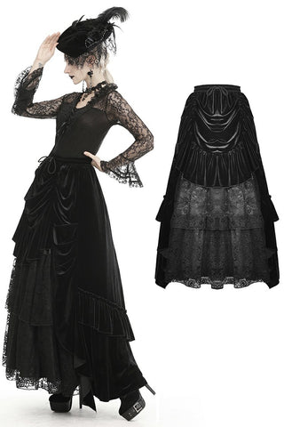 Gothic queen ruffle long velvet skirt KW187