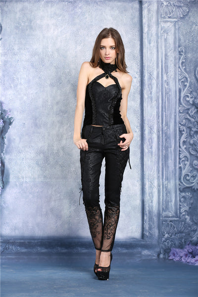 PW072 Transparent embroidered plum pattern leather pants