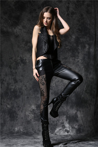 PW076 Gothic punk leather pants with lace and elegant curve segmentation