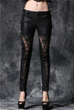 PW078 Gothic embossed lace leather pants with sexy flower and cords - Gothlolibeauty