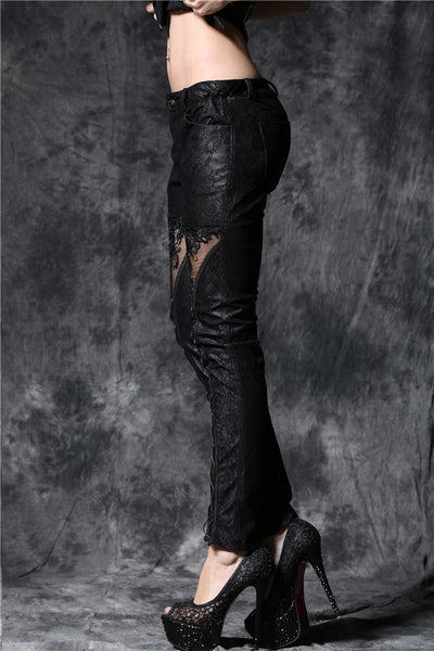 PW078 Gothic embossed lace leather pants with sexy flower and cords