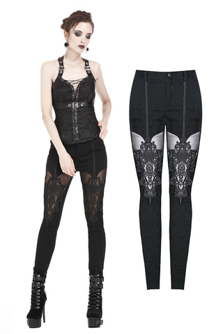PW087 Gothic patterned pants with hollow-out flower design on thigh