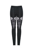 Gothic patterned pants with hollow-out flower design on thigh PW087 - Gothlolibeauty