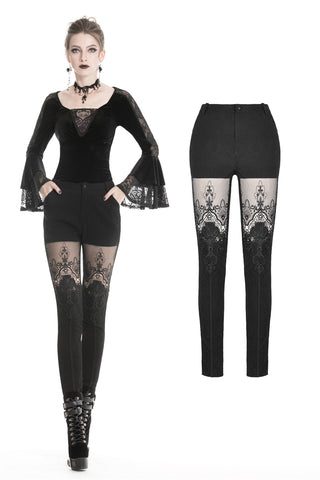 Women gothic punk victorian tight trousers with flower PW089 - Gothlolibeauty