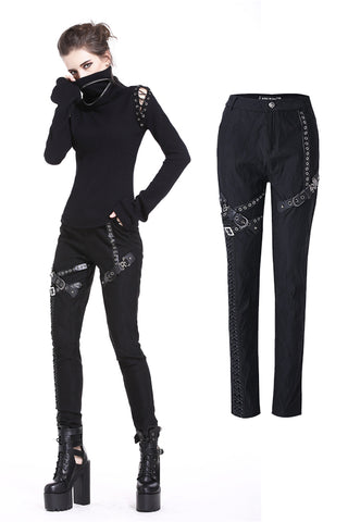 Punk rivet leather strip trousers PW091 - Gothlolibeauty