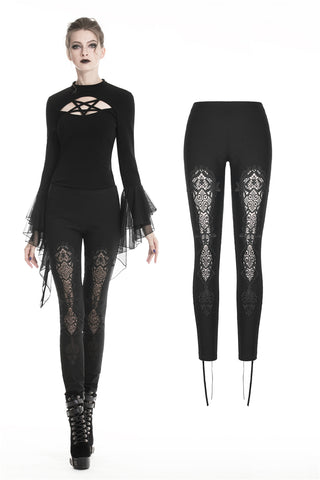 Women gothic leggings with flower and back lace up PW094 - Gothlolibeauty