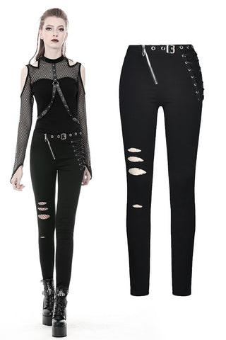 Punk hollow leg asymmetrical elastic trousers PW095 - Gothlolibeauty