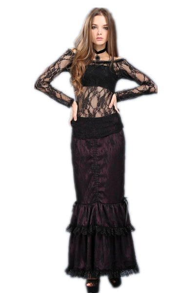 TW063 Gothic summer Sexy lace off Shoulder long sleeve Tee/T-shirt