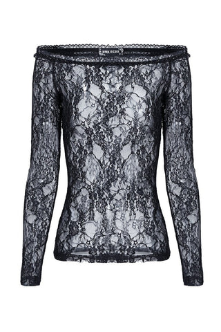 Gothic summer Sexy lace off Shoulder long sleeve Tee/T-shirt TW063 - Gothlolibeauty