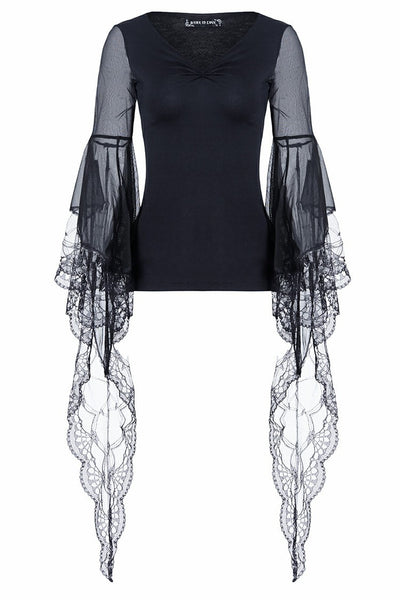 TW099 gothic Black Tee/T-shirt with transparent lace long sleeves