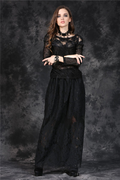 TW100 gothic elegant sexy soft T-shirt with three-dimensional embroidery lace