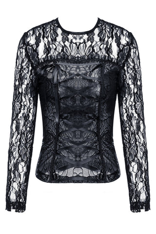 TW101 gothic corset-look T-shirt with jacquard hollow out sexy lace - Gothlolibeauty