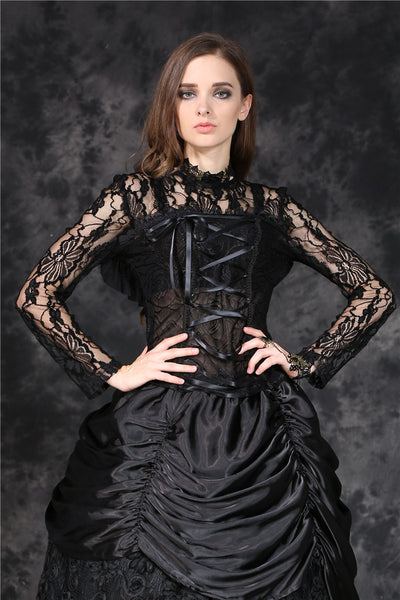 TW101 gothic corset-look T-shirt with jacquard hollow out sexy lace