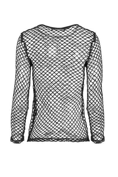 TW106 Punk sexy big grid T-shirt