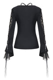 Gothic T-shirt with half mesh sexy sleeves TW148 - Gothlolibeauty